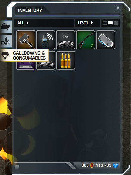 Inventory > Calldowns & Consumables