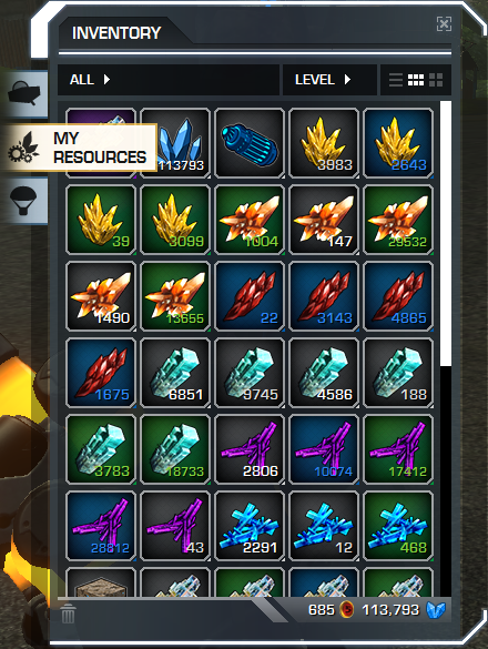 Inventory > My Resources